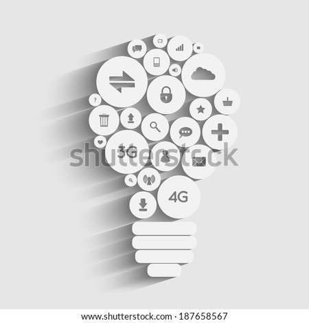 Raster version of Creative light bulb with applications icons inside - stock photo