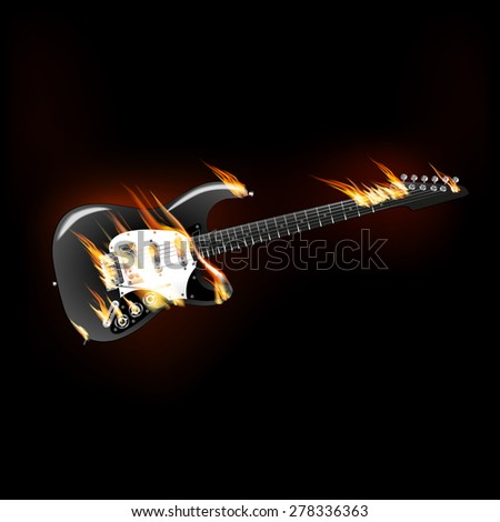 raster version of electric guitar on fire - stock photo