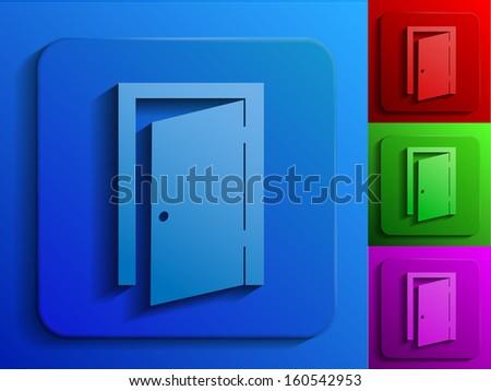 raster version of exit door monochrome icons - stock photo