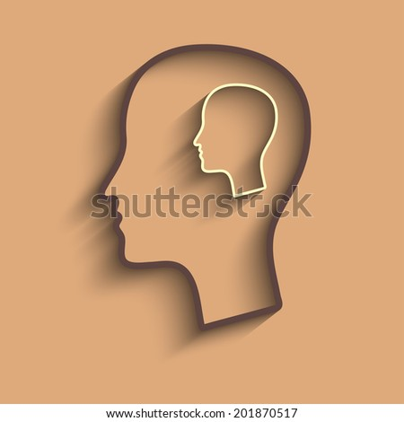 Raster version of Head in head  concept - stock photo