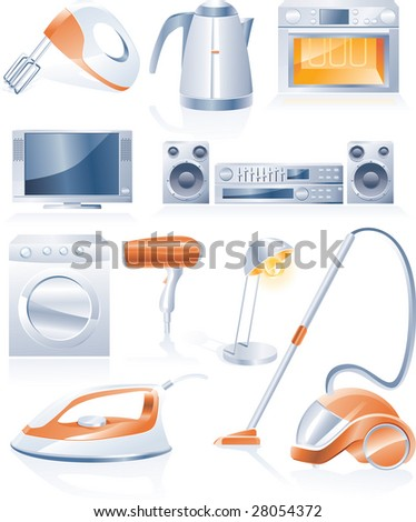Raster version of household appliances icons - stock photo