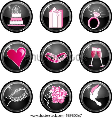 Raster version of 9 icon buttons. Also available as a vector illustration. - stock photo