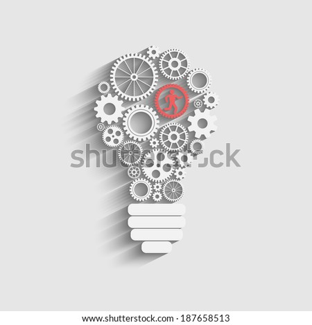 Raster version of light bulb with gears and cogs working together - stock photo