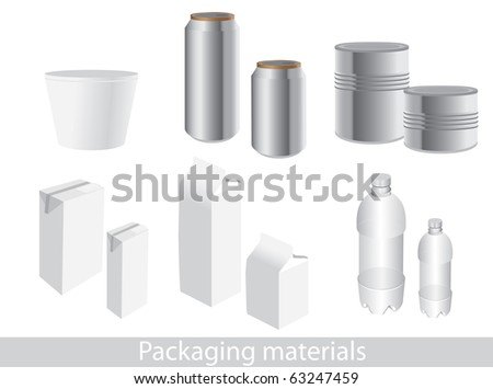 Raster version of packaging icon set. Dummies to place your design on (vector available). - stock photo