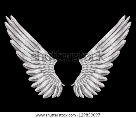raster version of silver wings - stock photo