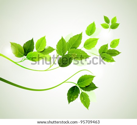 raster version of spring branch with fresh green leaves - stock photo