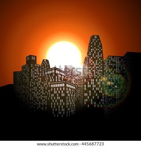 raster version of urban landscape in the shadows of a sunrise or sunset. - stock photo