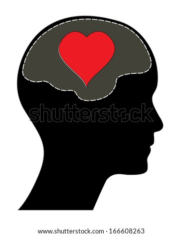 Raster version of valentines day concept. Human head with brain and red heart. Isolated abstract love illustration. - stock photo