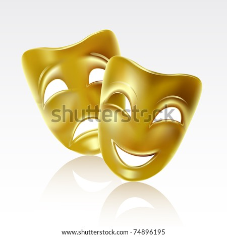 Raster version of vector atrical mask on a white background - stock photo