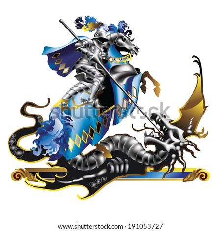 Raster version of vector/ Knight in blue robes and a dragon on a white background - stock photo
