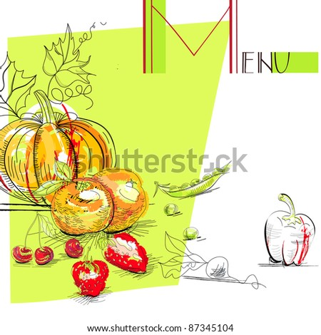 Raster version of vector Menu with fruit and vegetables - stock photo