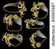 Raster version of vector set from  gold frames with gold plants on the black background - stock photo