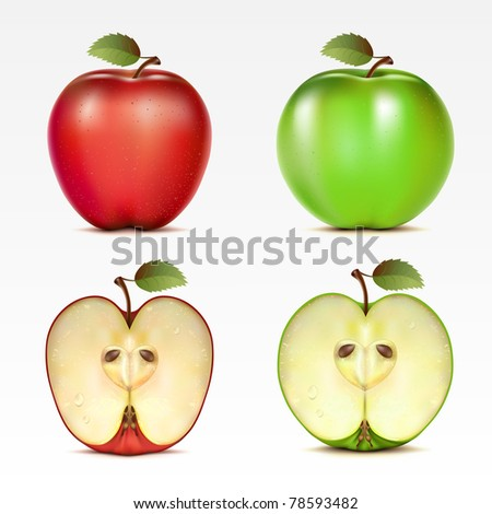 Raster version of vector set of red and green apples and their halves - stock photo