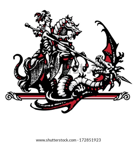 Raster version of vector/ Steel knight and dragon in four colors on a white background - stock photo
