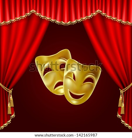 Raster version of vector theatrical mask on a red background. - stock photo