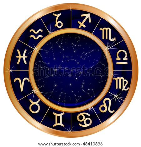 Raster version of vector zodiacal circle with zodiac sign - stock photo