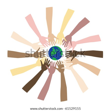 Raster version of world Peace shown through a diverse set of hands. - stock photo