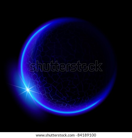 Raster version. One blue planet in deep space. Black space. Blue Sunset. - stock photo