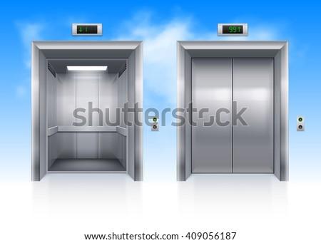 Raster version. Open and Closed Modern Metal Elevator Doors in Sky - stock photo