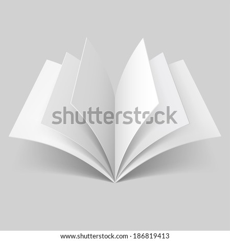 Raster version. Open book with blank pages isolated on grey background - stock photo