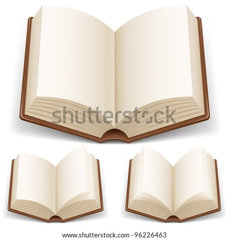 Raster version. Open book with white pages. Illustration on white background - stock photo