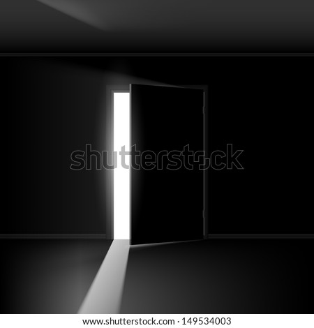 Raster version. Open door with light. Illustration on empty background - stock photo
