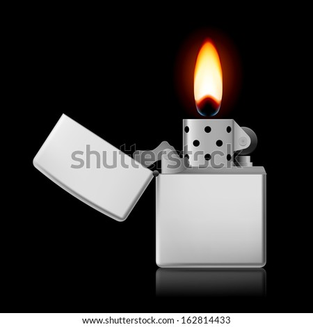 Raster version. Open metal lighter with flame on black background. - stock photo