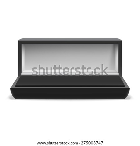 Raster version. Open rectangular box for jewelry on  white background