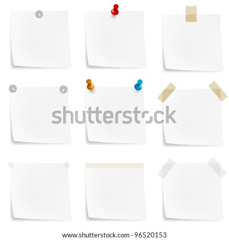Raster version. Paper notes and stickers. Illustration on white background - stock photo
