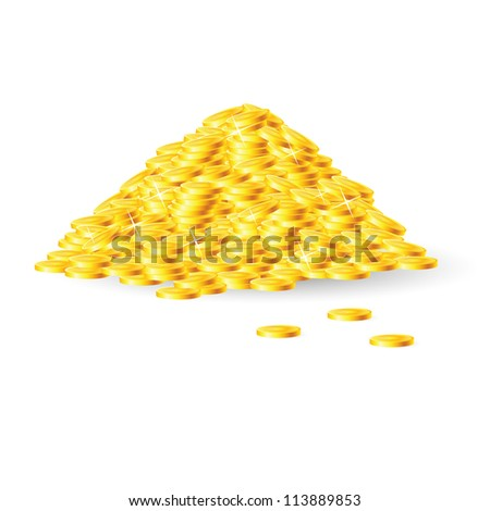 Raster version. Pile of gold coins. Isolated on white background - stock photo