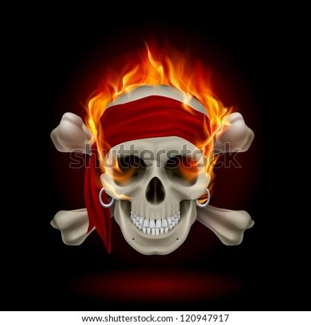 Raster version. Pirate Skull in Flames. Illustration on black - stock photo