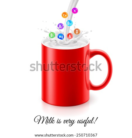 Raster version. Pouring milk into red mug with illustration of various vitamins in splashes  - stock photo