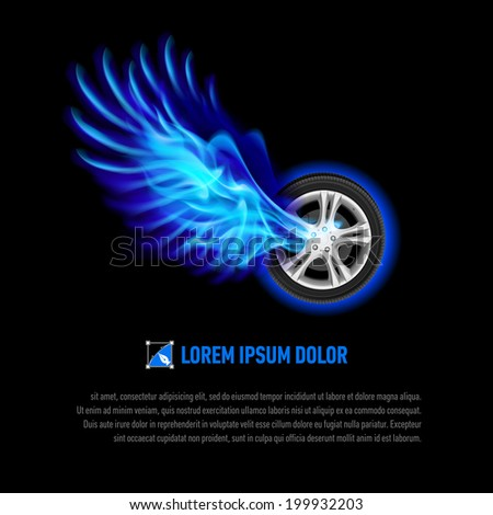 Raster version. Powerful wheel with blue flaming wings for your design - stock photo