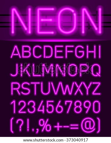 Raster version. Purple set neon font and symbols isolated on black