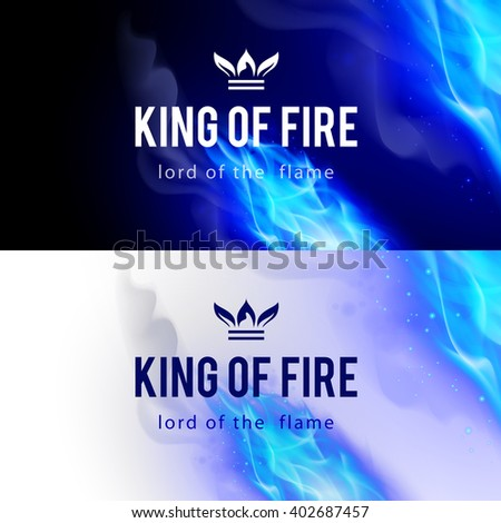 Raster version. Realistic Blue Fire Flames Effect on Black and White Backgrounds - stock photo