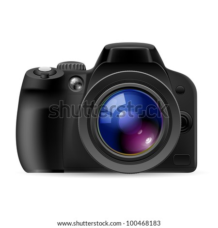 Raster version. Realistic digital camera. Illustration on white background - stock photo