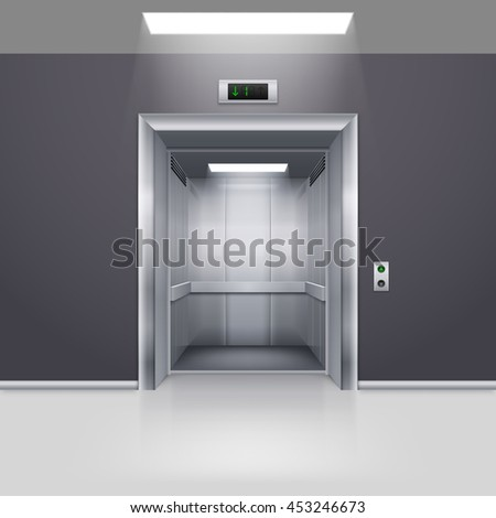 Raster version. Realistic Empty Modern Elevator with Open Door in Hall - stock photo