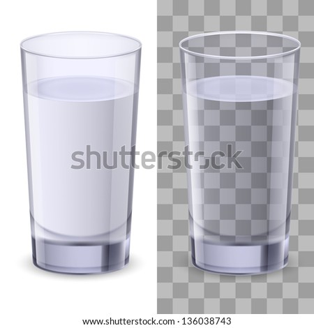 Raster version. Realistic glasses of water. Illustration on white background for design - stock photo