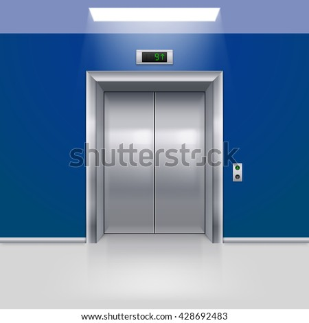 Raster version. Realistic Metal Modern Elevator with Closed Door in Blue Hall - stock photo