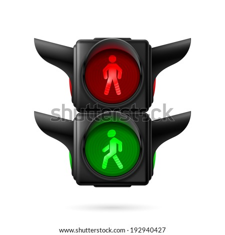 Raster version. Realistic pedestrian traffic lights with red and green lamps on. Illustration on white background - stock photo