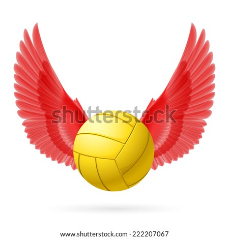 Raster version. Realistic volley ball with red wings emblem  - stock photo