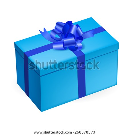 Raster version. Rectangular light blue gift box with shiny dark blue bow on white background  - stock photo
