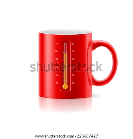 Raster version. Red cup with a built-in thermometer on white background  - stock photo