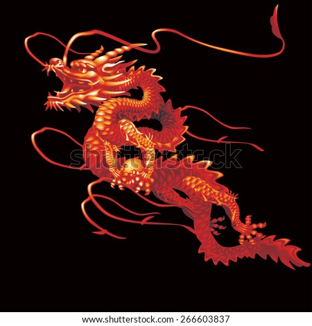 Raster version / Red Dragon moving up diagonally on a black background - stock photo
