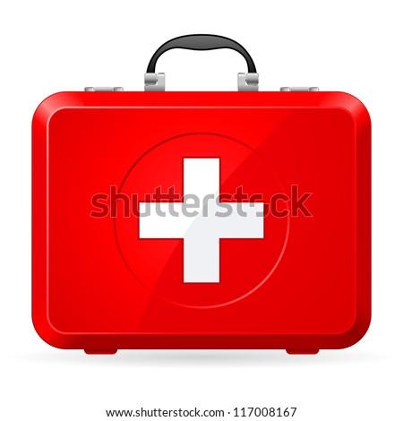 Raster version. Red First Aid kit. Illustration on white - stock photo
