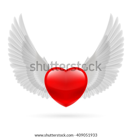 Raster version. Red heart with white raised dove wings. - stock photo