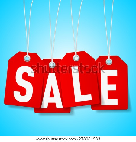 Raster version. Red price tags with Sale word on blue background - stock photo