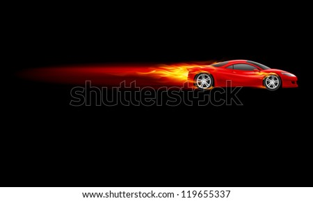 Raster version. Red Sport Car. Burnout design. Illustration on black - stock photo