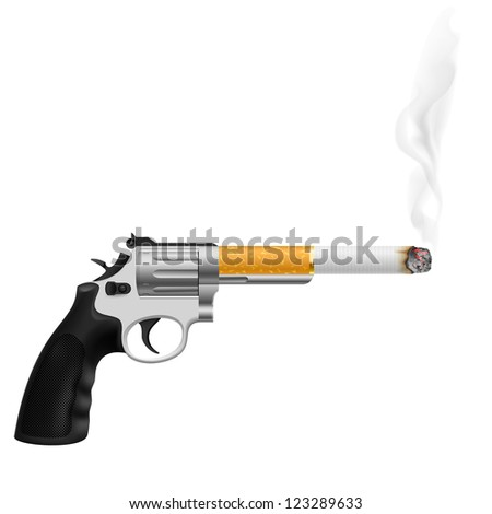 Raster version. Revolver with a cigarette. Illustration on white - stock photo