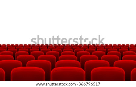 Raster version. Rows of Cinema or Theater Red Seats - stock photo